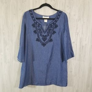 Flying Tomato Chambray Embroidered Tunic Large